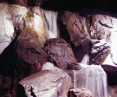 Soft Waterfall On Rocks Poster by Barb Baker