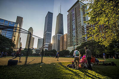 Softball By Skyscrapers Poster