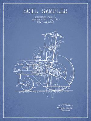 Soil Sampler Machine Patent From 1965 - Light Blue Poster
