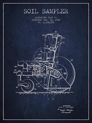 Soil Sampler Machine Patent From 1965 - Navy Blue Poster