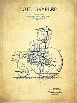 Soil Sampler Machine Patent From 1965 - Vintage Poster