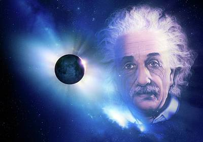 Solar Eclipse And Einstein Poster by Detlev Van Ravenswaay