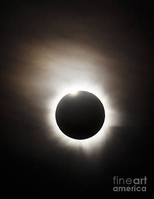 Solar Eclipse With Diamond Ring Effect Poster by Philip Hart