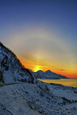 Solar Halo And Sun Pillar At Sunset Poster