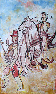 Poster featuring the painting Solder And Horse by Anand Swaroop Manchiraju