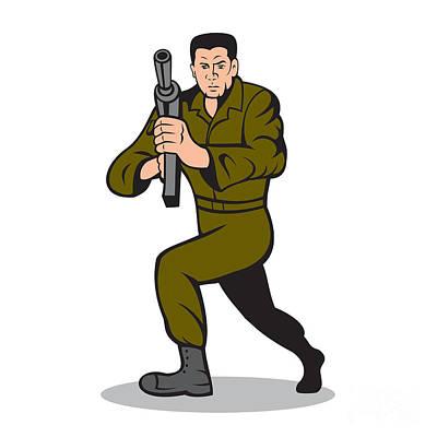 Soldier Aiming Sub-machine Gun Cartoon Poster by Aloysius Patrimonio