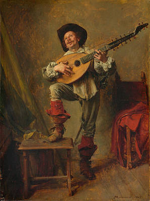 Soldier Playing The Theorbo Poster by Ernest Meissonier