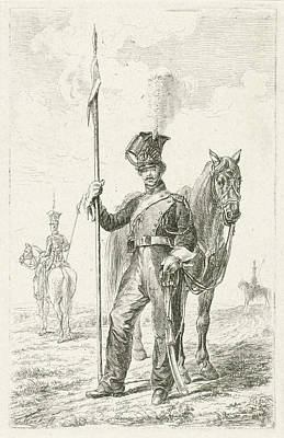 Soldier With A Spear Beside His Horse, Johannes Mock Poster by Johannes Mock