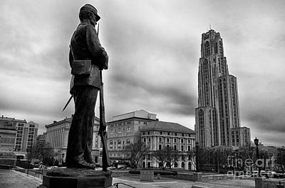 Soldiers Memorial And Cathedral Of Learning Poster by Thomas R Fletcher