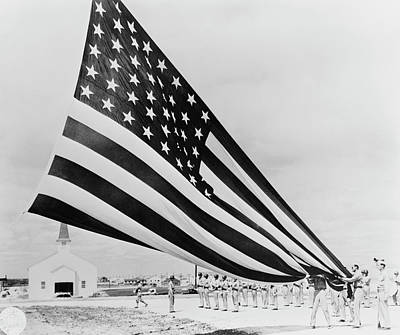 Soldiers Unfolding Garrison Flags Poster