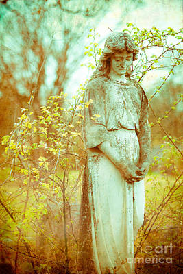 Solemn Cemetery Statue Poster