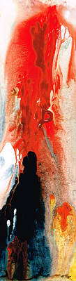 Solitary Man - Red And Black Abstract Art Poster by Sharon Cummings
