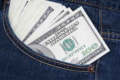 Some Us $100 Bills In A Jeans Pocket Poster