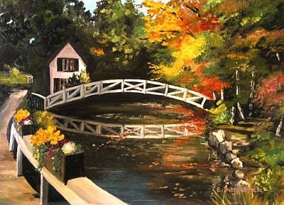 Somesville Maine Footbridge Poster by Eileen Patten Oliver