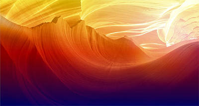 Poster featuring the photograph Somewhere In America Series - Colorful Light In Antelope Canyon by Lilia D