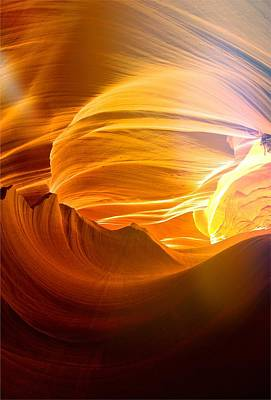 Poster featuring the photograph Somewhere In America Series - Gold Colors In Antelope Canyon by Lilia D