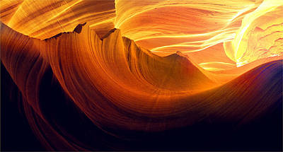 Poster featuring the photograph Somewhere In America Series - Golden Yellow Light In Antelope Canyon by Lilia D
