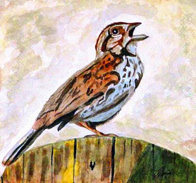 Poster featuring the painting Song Sparrow by Angela Davies