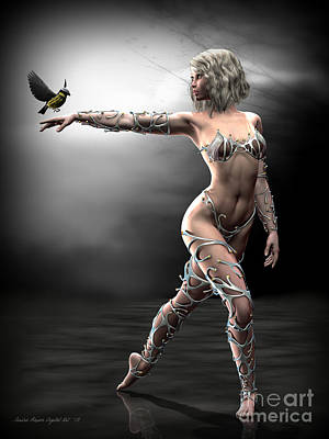 Poster featuring the digital art Songbird by Sandra Bauser Digital Art