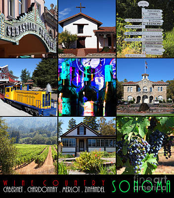 Sonoma County Wine Country 20140906 With Text Poster by Wingsdomain Art and Photography