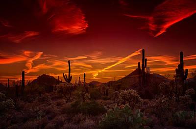 Sonoran Skies On Fire  Poster by Saija  Lehtonen