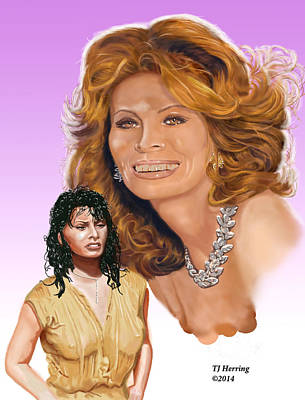 Poster featuring the digital art Sophia Loren by Thomas J Herring