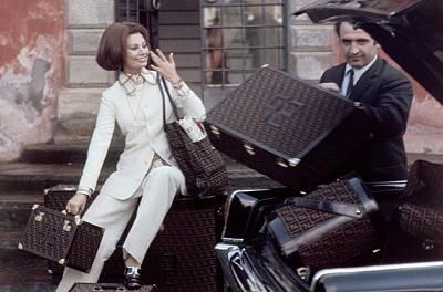 Sophia Loren Wearing An Off-white Shantung Suit Poster