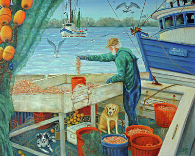 Poster featuring the painting Sorting Shrimp At Frogmore by Dwain Ray
