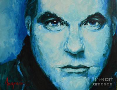 Soulful Portrait Under Blue Light Poster