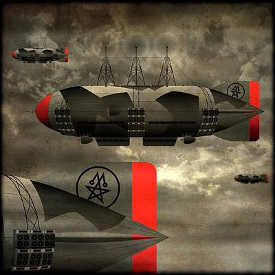Poster featuring the digital art Sound Zeppelins by Milton Thompson