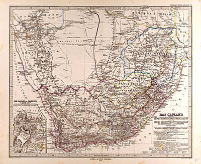 South Africa 1872 Map Gotha Justus Perthes 1872 Atlas Poster by South African School