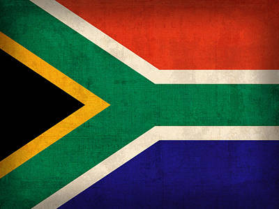 South Africa Flag Vintage Distressed Finish Poster by Design Turnpike