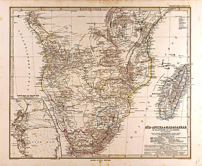 South Africa Madagascar Map Gotha Justus Perthes 1872 Atlas Poster by South African School