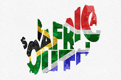 South Africa Typographic Map Flag Poster by Ayse Deniz