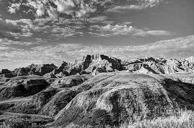 South Dakota Badlands 4 Bw Poster by Mel Steinhauer