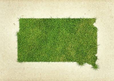 South Dakota Grass Map Poster by Aged Pixel