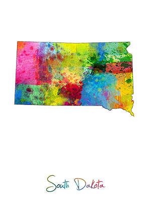 South Dakota Map Poster by Michael Tompsett