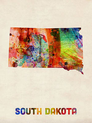South Dakota Watercolor Map Poster by Michael Tompsett