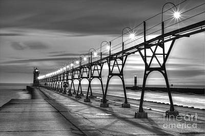 South Haven Light In Black And White Poster by Twenty Two North Photography