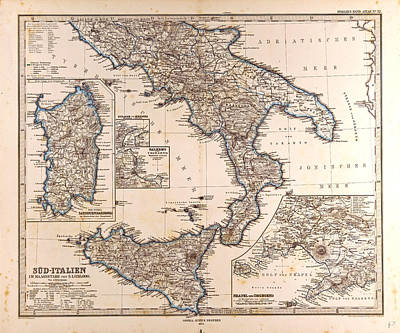 South Italy Map Gotha Justus Perthes 1872 Atlas Poster by Italian School