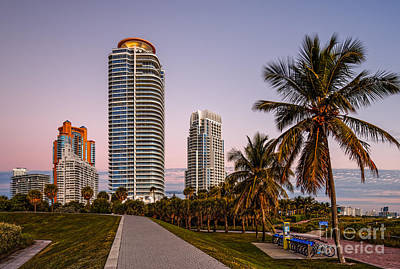 South Pointe Park On A Quiet Fall Morning - South Beach Miami Beach - Florida Poster by Silvio Ligutti