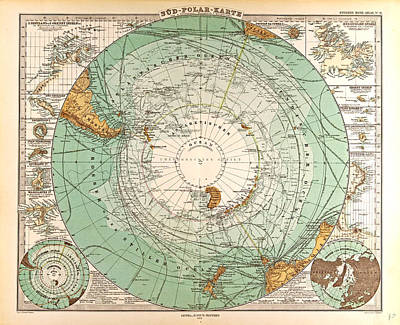 South Pole Map Gotha Justus Perthes 1872 Atlas Poster by English School