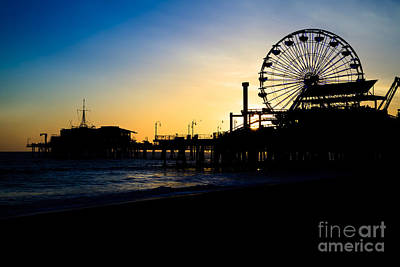 Southern California Santa Monica Pier Sunset Poster by Paul Velgos