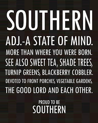 Southern State Of Mind Black And White Poster by Debbie Karnes