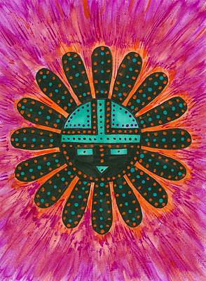 Poster featuring the painting Southwest Sunburst Sunface by Susie Weber