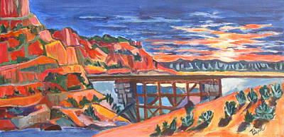 Southwest Sunset And Rail Trestle In A Nod To Thomas Kinkade Poster