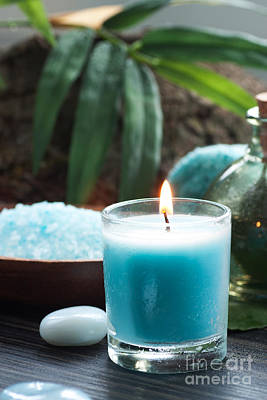 Spa Setting With Bath Salt And Candles Poster by Mythja  Photography