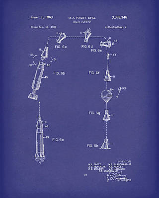 Space Capsule 1963 Patent Art Blue Poster by Prior Art Design