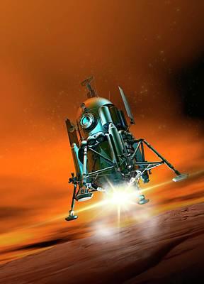Space Craft Landing On Planet Mars Poster