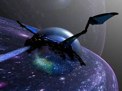 Space Dragon Flight Poster
